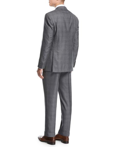 Windowpane Wool-Silk Two-Piece Suit, Gray