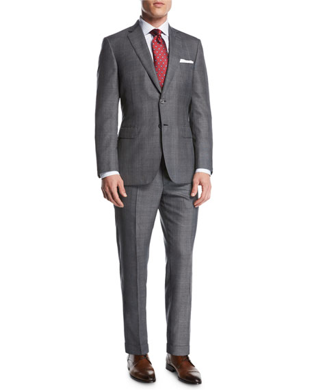 Brioni Windowpane Wool-Silk Two-Piece Suit, Gray