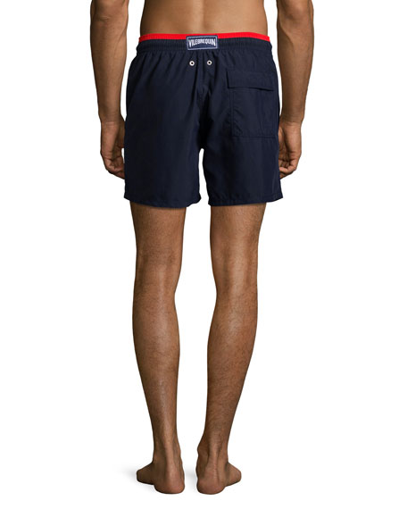 Moka Bi-Color Swim Trunks, Navy/Red