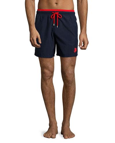 Moka Bi-Color Swim Trunks, Navy/Red