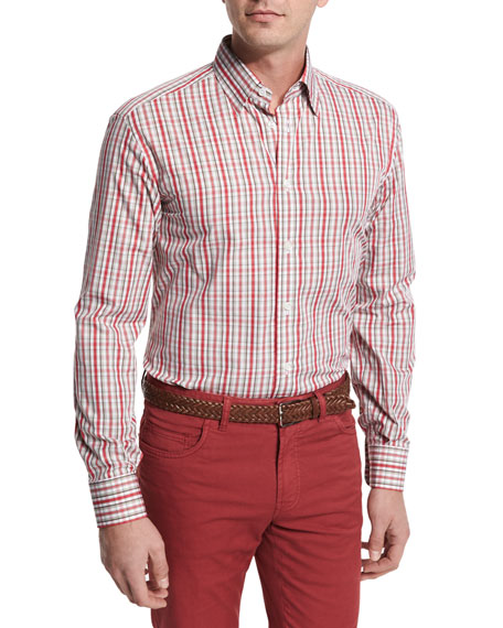 Plaid Cotton Sport Shirt, Red/Tan