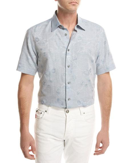 Floral Jacquard Short-Sleeve Sport Shirt, Light Blue