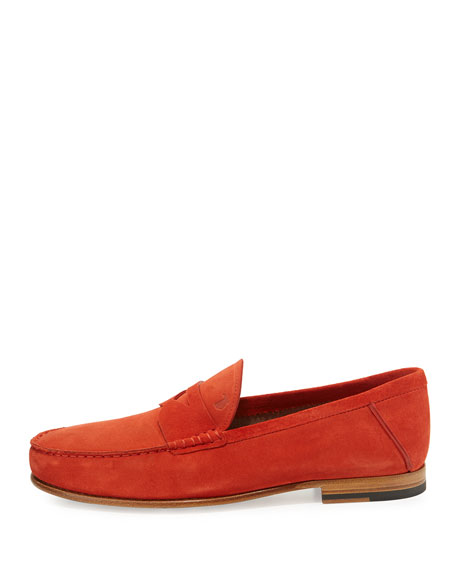 Gommini Suede Penny Loafer, Red
