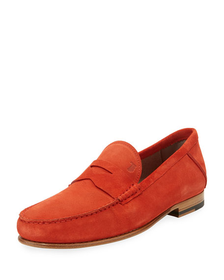 Tod's Gommini Suede Penny Loafer, Red