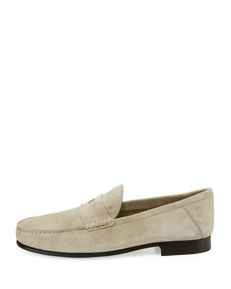 Gommini Suede Penny Loafer, Ivory