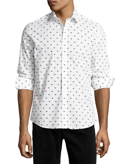 Kenzo Iconic Eye Slim-Fit Sport Shirt, White