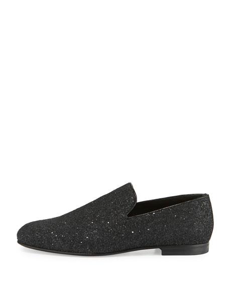 Sloane Men's Coarse Glitter Slipper, Black