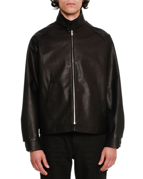 Barracuda Leather Bomber Jacket, Black