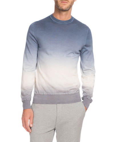 Ombré Cashmere Sweater, Light Blue/White/Gray