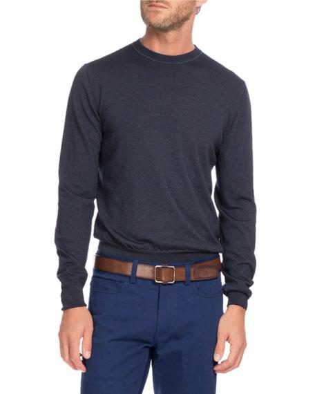 Wool Crewneck Sweater, Navy Blue