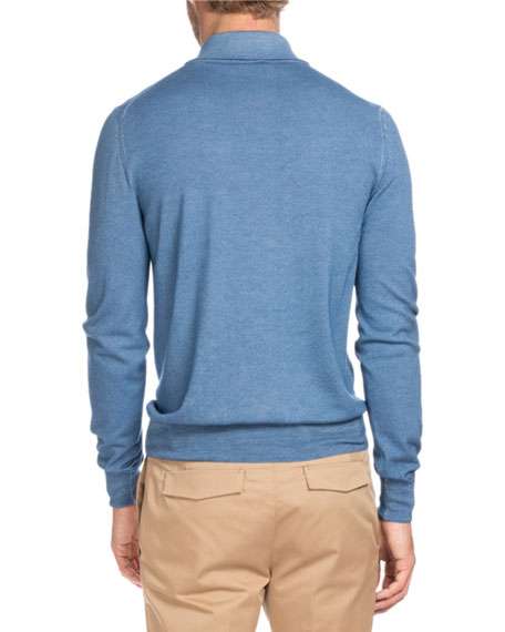 Long-Sleeve Wool Polo Sweater, Blue