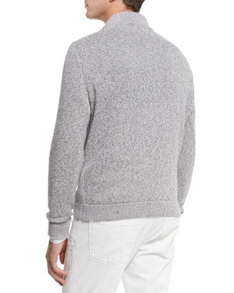 Mezzocollo Cashmere-Silk Quarter-Zip Pullover