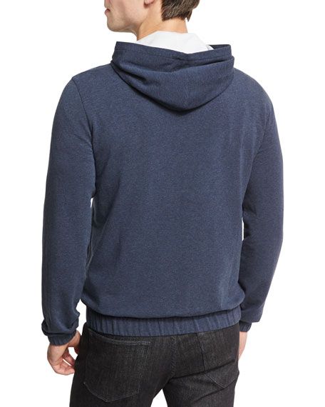 Cotton Fleece Hoodie Sweatshirt, Indigo