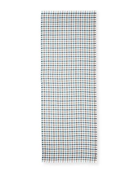 Men's Summer Devon Brina Cashmere-Silk Check Scarf, Blue