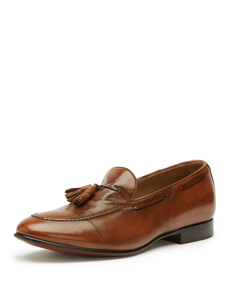 Frye Men's Aiden Leather Tassel Loafer, Brown