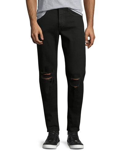 Standard Issue Fit 1 Slim-Skinny Jeans with Ripped Knees, Black
