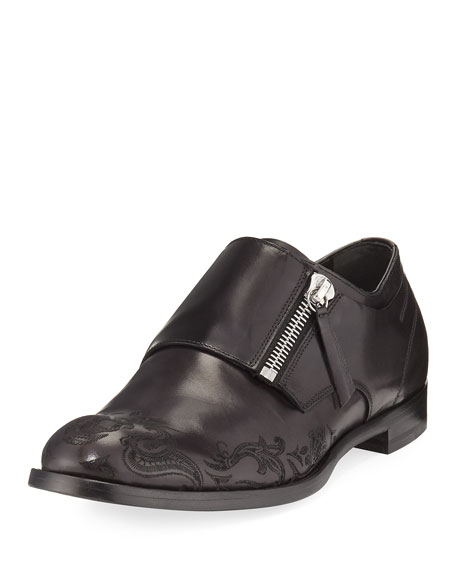 Skull-Etched Leather Loafer with Zipper Monk Strap, Black