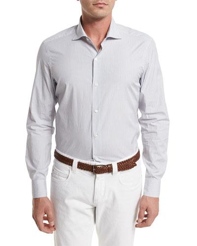 Albert Striped Sport Shirt, Blue