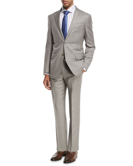 Ermenegildo Zegna Sharkskin Two-Piece Suit, Light Gray