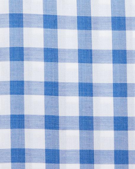 Bold-Check Dress Shirt, White/Royal Blue