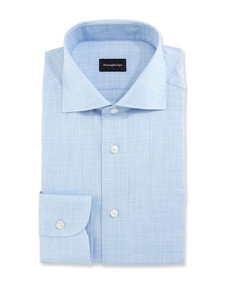 Linen-Effect Dress Shirt, Blue