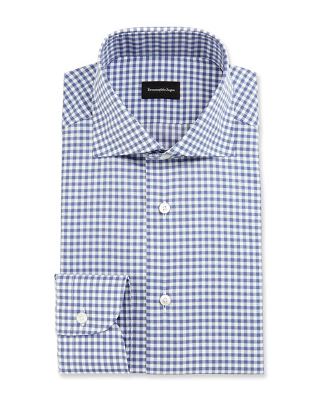 Gingham Dress Shirt, Slate Blue
