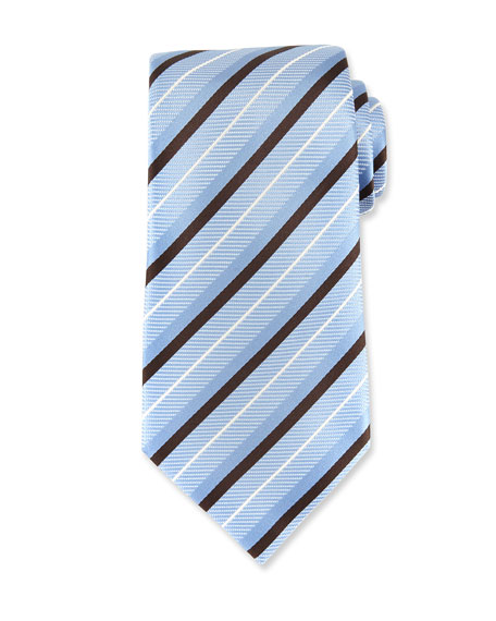 Ermenegildo Zegna Diagonal-Stripe Silk Tie, Blue