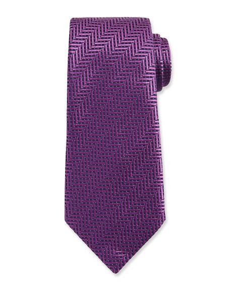 Ermenegildo Zegna Dotted Herringbone Woven Silk Tie, Purple