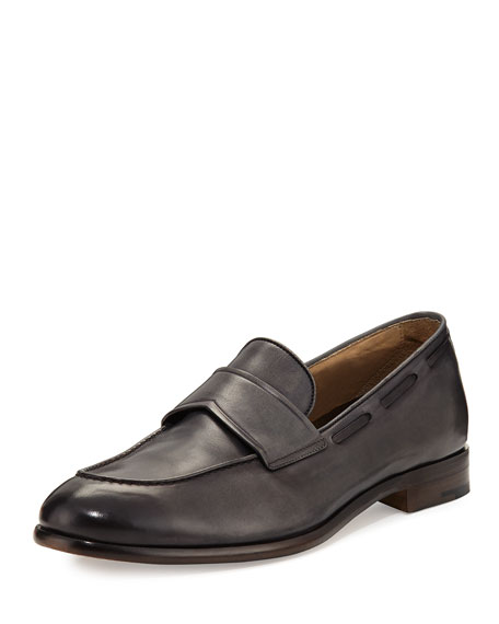 Ermenegildo Zegna Il Mocassino Leather Penny Loafer, Gray