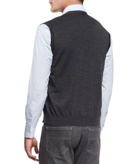 Wool Cardigan Vest, Charcoal