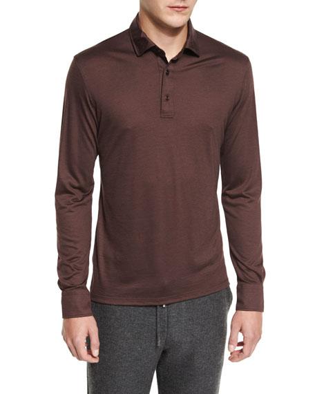 High-Performance Wool Long-Sleeve Polo Shirt, Crimson
