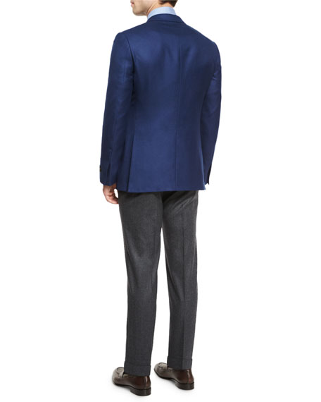 Solid Cashmere Two-Button Blazer, Blue