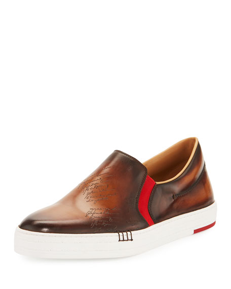 Scritto Burnished Leather Skate Sneaker