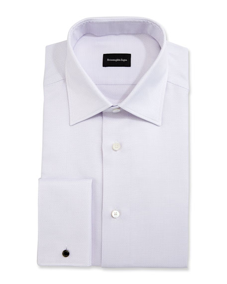 Ermenegildo Zegna Solid Textured French-Cuff Dress Shirt,