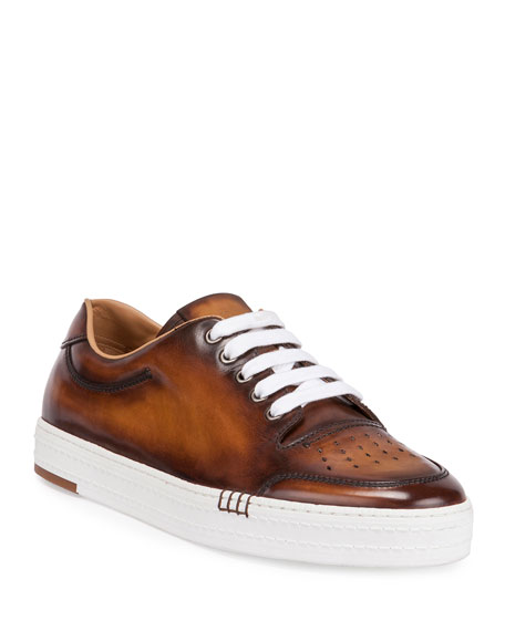 BERLUTI Men'S Playtime Perforated Leather Sneakers, Tobacco in Brown