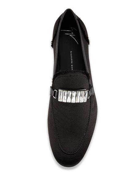 Men's Frayed-Silk Rhinestone-Embellished Formal Loafer, Black