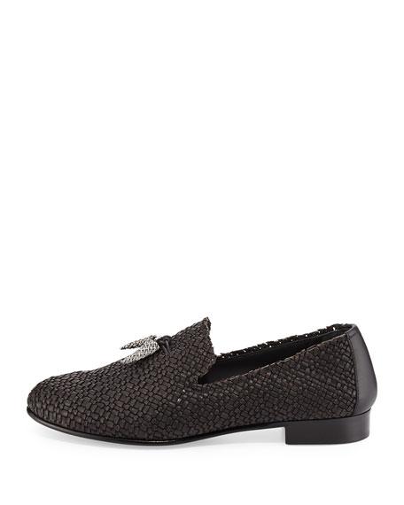 Men's Woven Leather Formal Loafer with Horn Tassels, Black