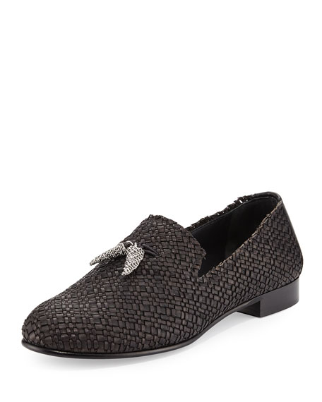 Giuseppe Zanotti Men's Woven Leather Formal Loafer with