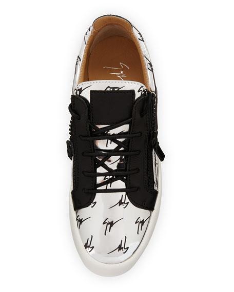 70cbb05b96e84 Giuseppe Zanotti Men's Logo Patent Leather Low-Top Sneaker, Silver/Black