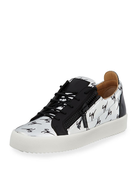 3a8f0e15df8d0 Giuseppe Zanotti Men's Logo Patent Leather Low-Top Sneaker, Silver/Black