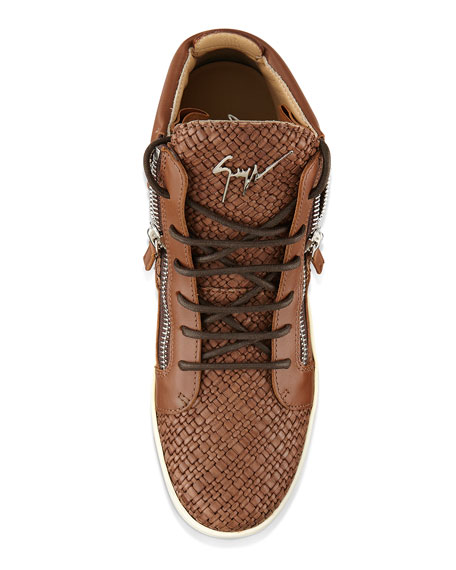 Men's Woven Leather Mid-Top Sneaker, Brown