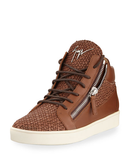 db91aae826e45 Giuseppe Zanotti Men's Woven Leather Mid-Top Sneakers, Brown