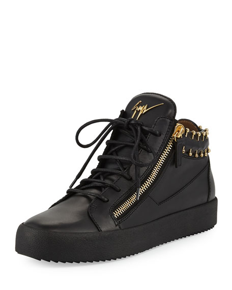 Giuseppe Zanotti Men s Leather Mid-Top Sneakers with Gold Piercing Details 9c684be24