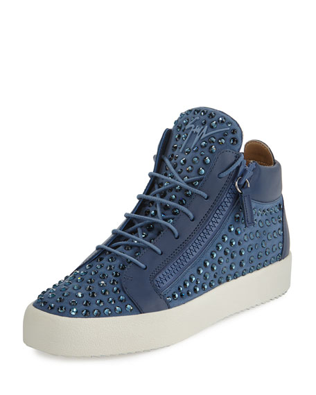 Men's Suede Rhinestone-Embellished Mid-Top Sneaker, Light Blue