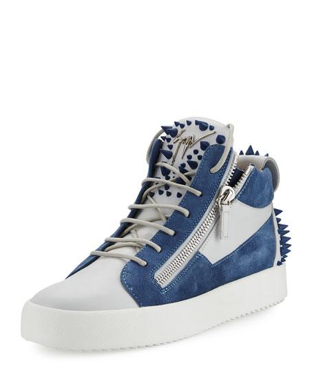 d7e385e506f15 Giuseppe Zanotti Men's May London Spiked High-Top Sneaker, White/Blue