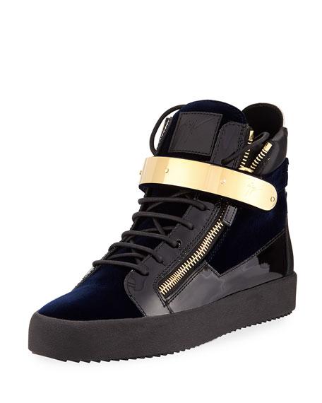 Men's Velvet High-Top Sneaker with Golden Bar, Navy