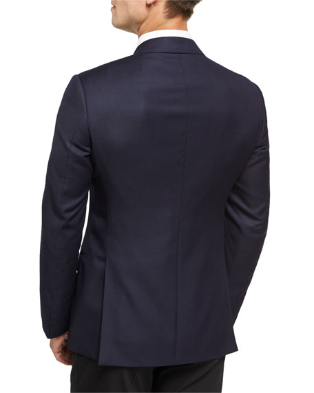 Soft Basic Wool Two-Button Sport Coat, Navy
