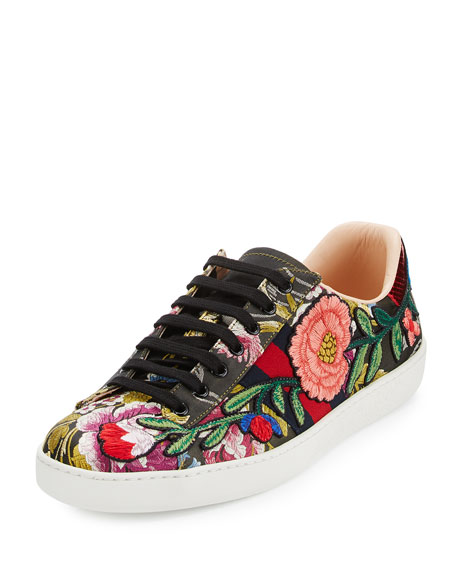 New Ace Men's Floral Leather Low-Top Sneaker, Black