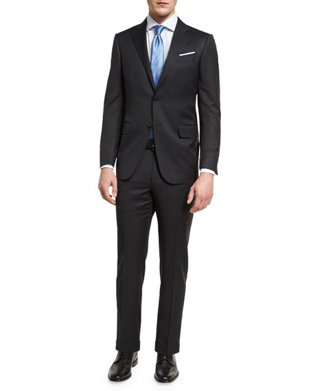 Ermenegildo Zegna Tonal Check Two-Piece Suit, Black