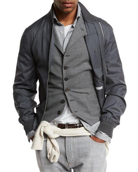 Wool-Blend Zip Bomber Jacket